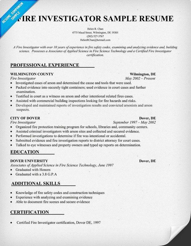 Fire Investigator Resume Sample -   resumesdesign/fire