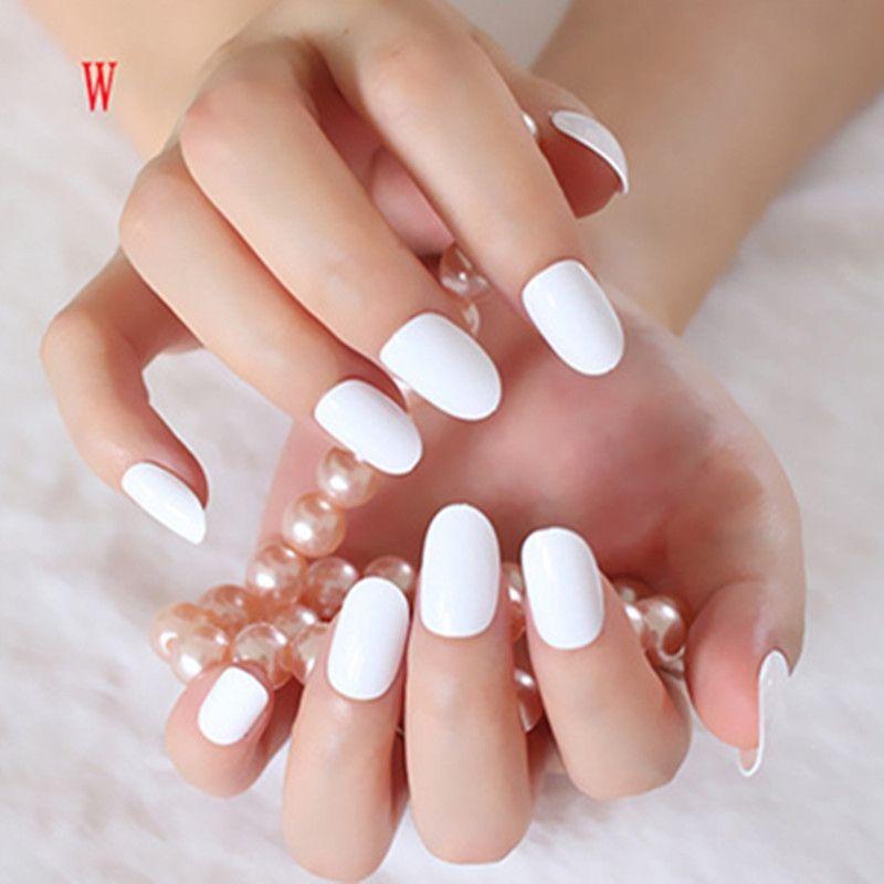 Shiny False Nails Pure White Acrylic Nail Tips Oval Top Manicure ...