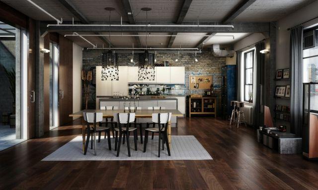wohnungseinrichtung-ideen-loft-kueche-essbereich-industrial - einrichtung im industriellen wohnstil ideen loftartiges ambiente