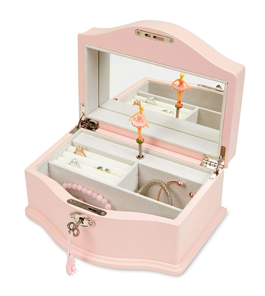 Jewelkeeper girls wooden musical jewelry box with lock and