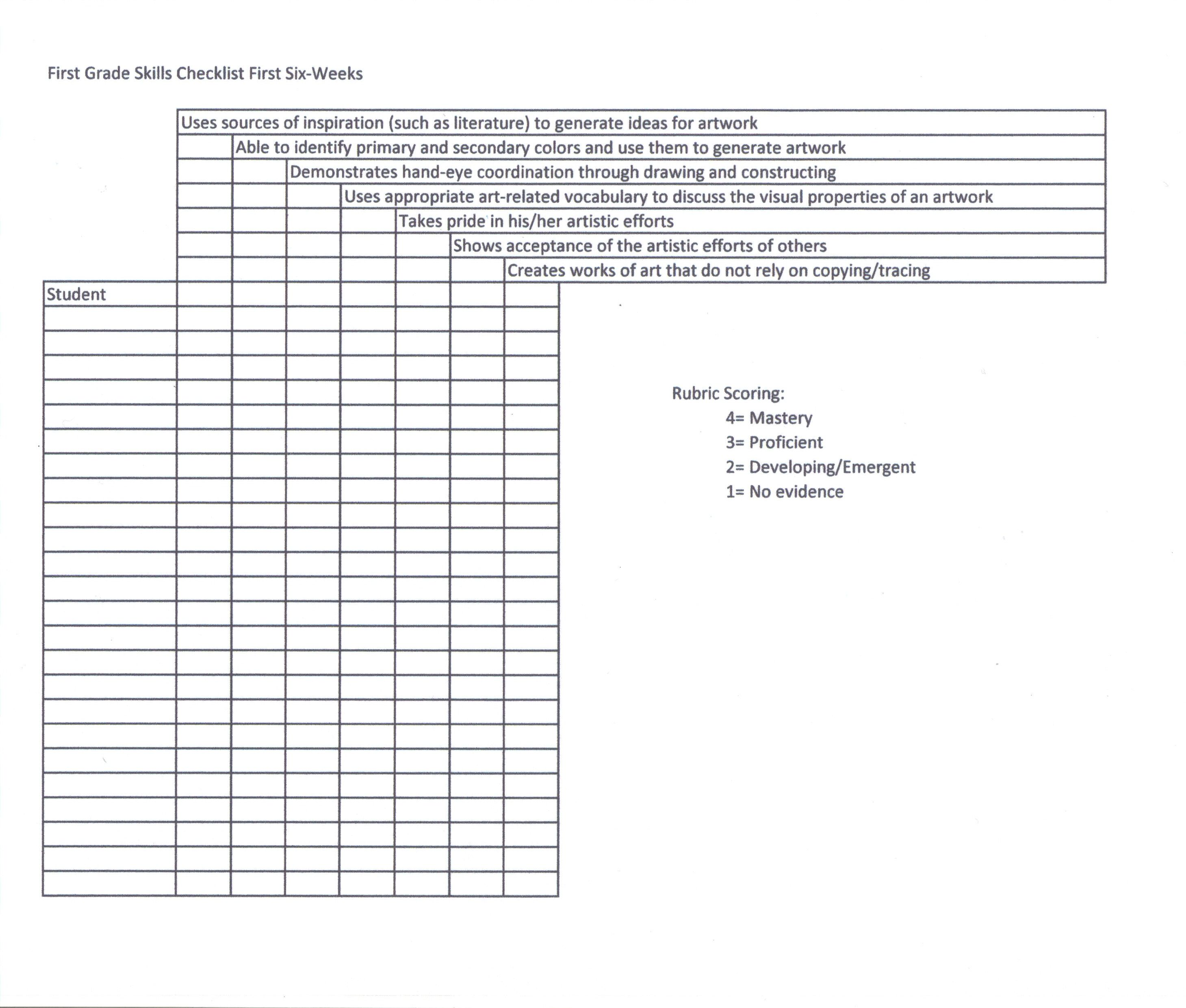 This Is A Skills Checklist Rubric I Created To Assess My