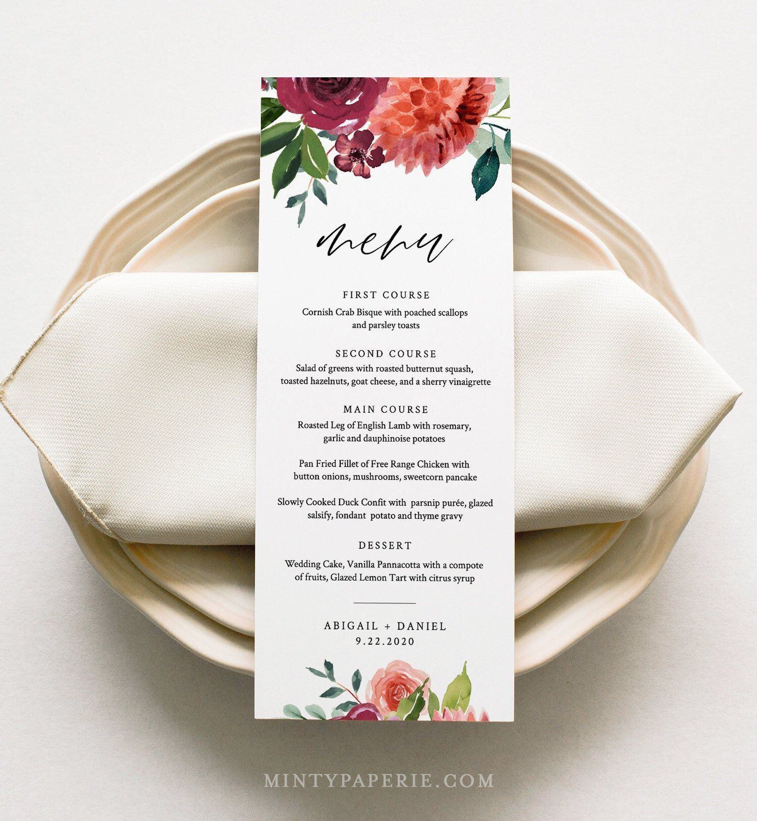 Wedding Menu Card Template, Dinner Menu, Summer Orange Floral Menu Card Printable, 100% Editable Text, Instant Download, Templett #002-147WM #weddingmenuideas *** ENJOY 60% OFF WHEN YOU ORDER 3 OR MORE ITEMS. Discount applied automatically at checkout.*** This listing is an