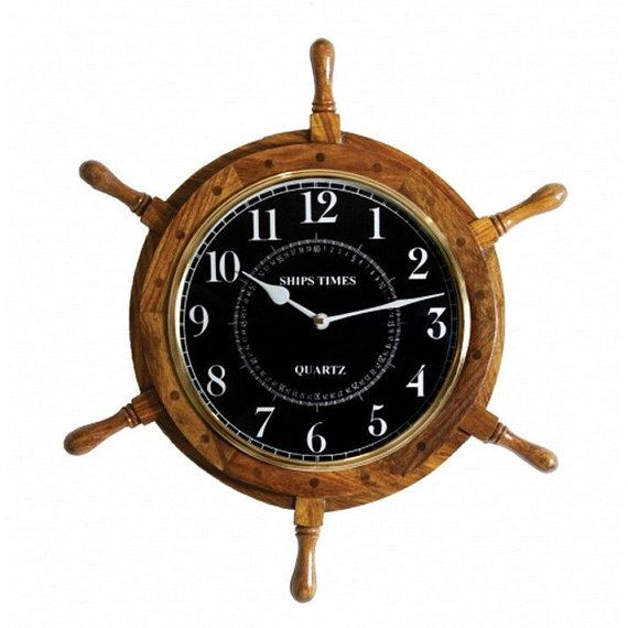 99 Wooden Ship Wheel Clock 18 Black Faced Boat Steering Decor Nautical Decorations