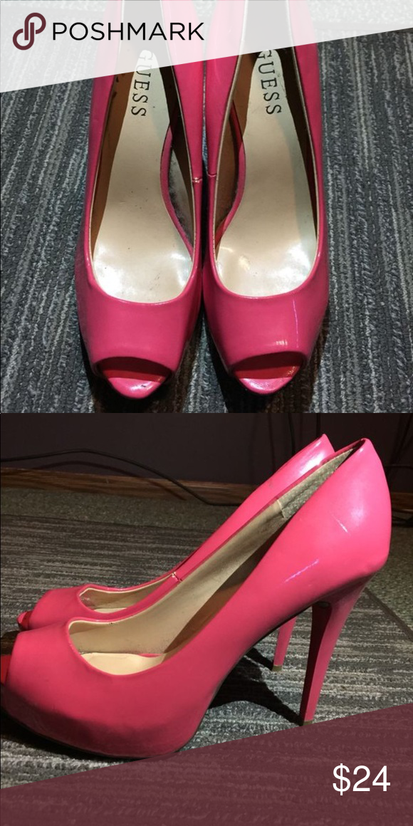 7044f04e88a Guess heels Hot pink, open toed, Guess size 8.5 heels. Only worn ...