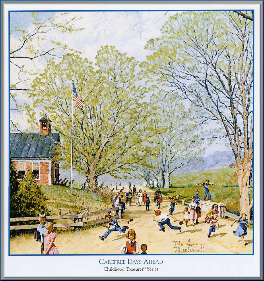 Vintage Norman Rockwell Carefree Days Ahead Childhood Treasures Series Print 2
