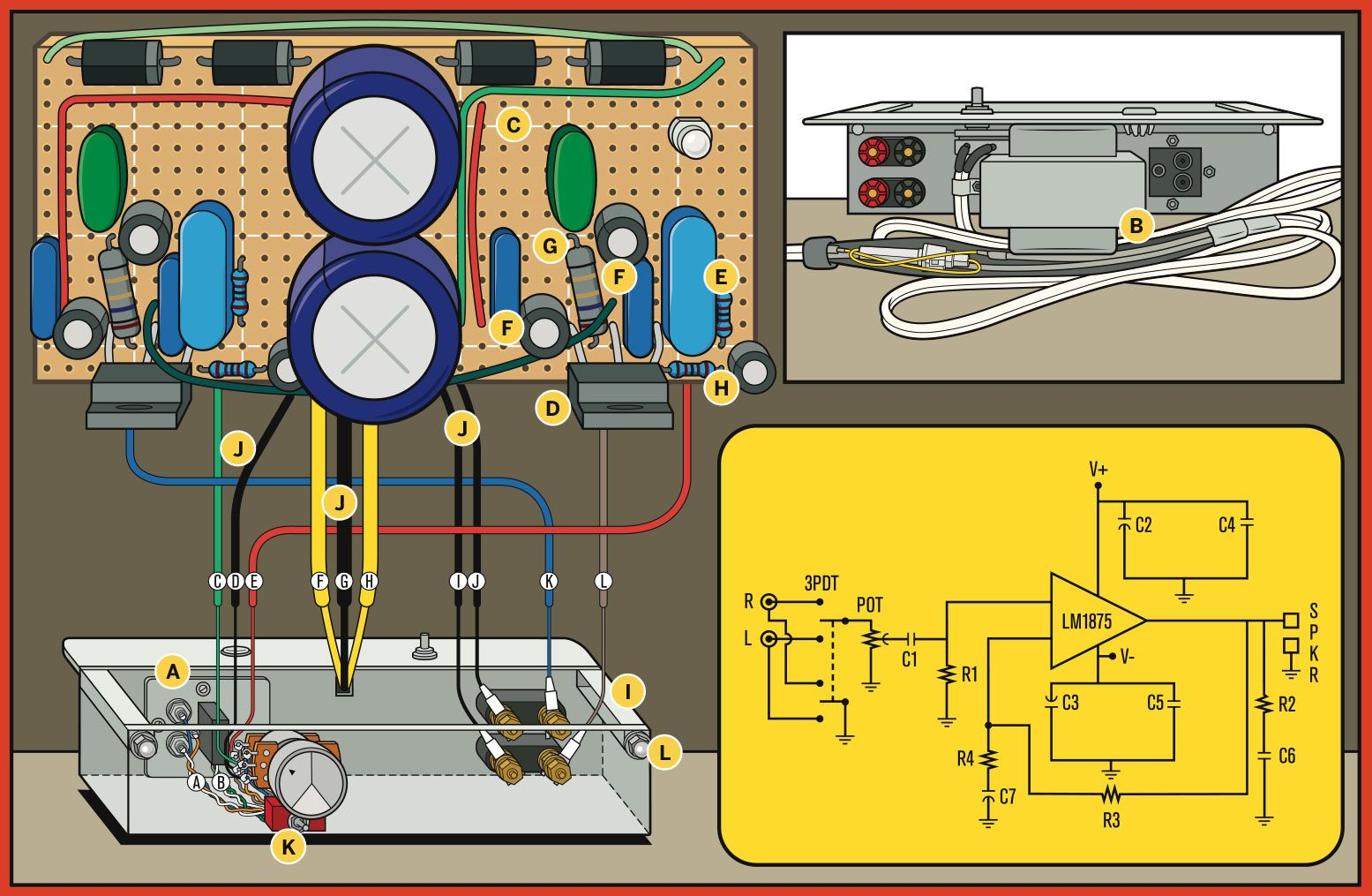 Build A Bare Bones Skeleton Amplifier Music Bone Water Level Indicator Circuit Gadgetronicx