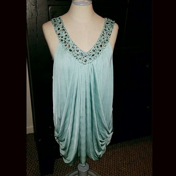 Maurices Plus Light blue beaded embellished Maurices blouse size 1x Maurices Tops Blouses