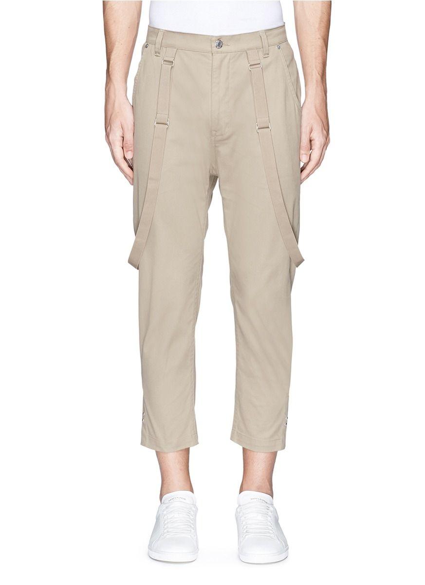 HELMUT LANG Suspender strap cropped twill pants. #helmutlang #cloth #