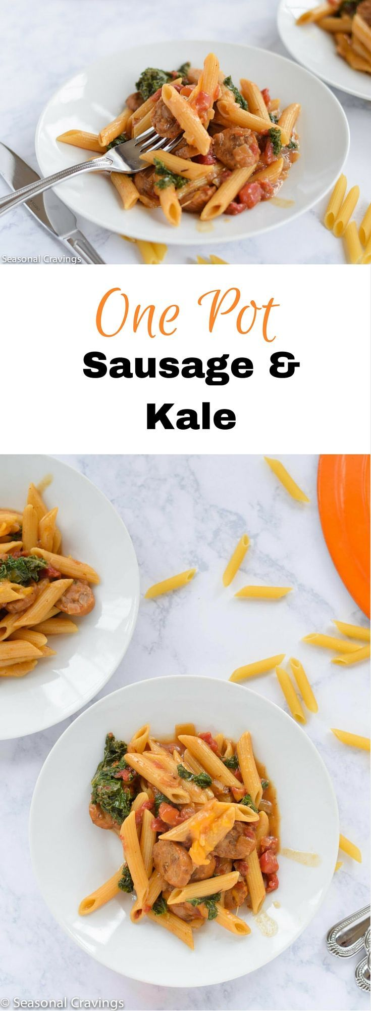 One Pot Sausage and Kale - quick, easy and healthy.  This will become a…