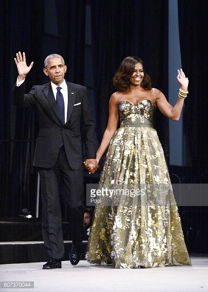 President Barack Obama and First Lady Michelle Obama arrive to address the Congressional Black Caucus Foundation's 46th Annual Legislative Conference...