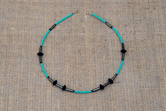 Simple chic necklace in gorgeous shades of blue and turquoise by BijoubeadsLondon £23.00
