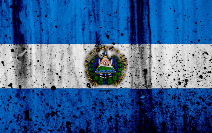 Download Wallpapers Salvadoran Flag 4k Grunge Flag Of Salvador North America Salvador National Symbols Coat Of Arms Of Salvador Salvadoran Coat Of Arms Bandera De El Salvador El Salvador Escudo De