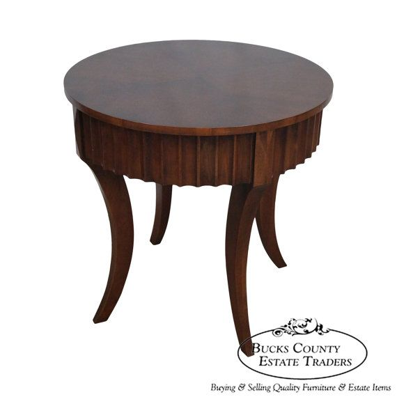 Ethan Allen Legacy Round Sculpted Side Drum Table Drum Table