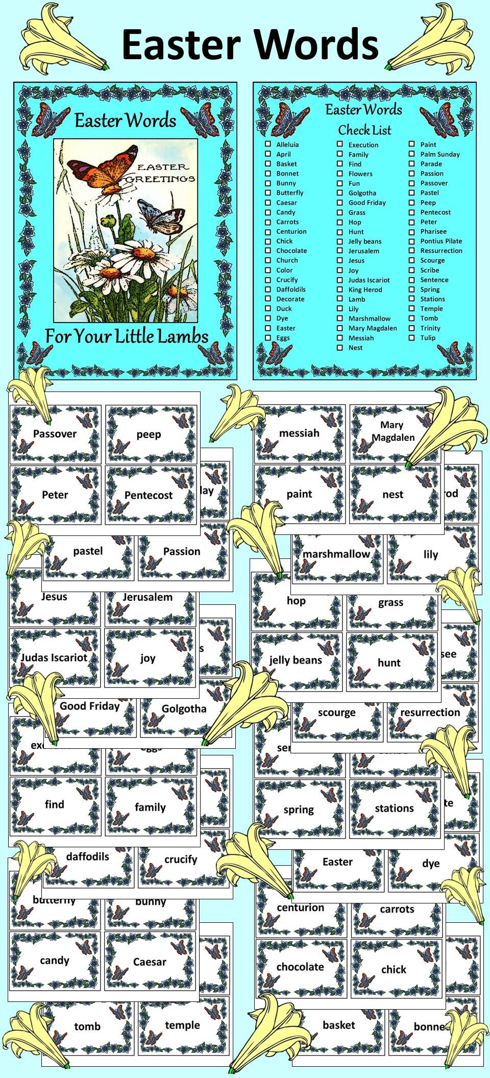 Easter Activities: Easter Words Flash-card Set | Easter Language ...