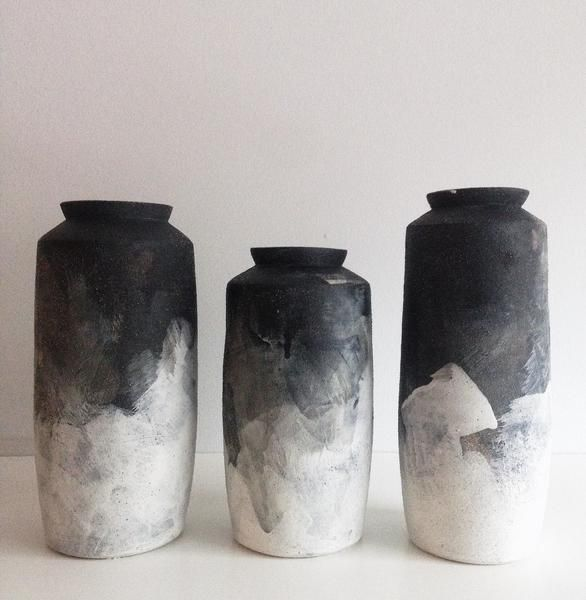 Hand Thrown Stoneware Black Amp White Brushed Ombre Vases
