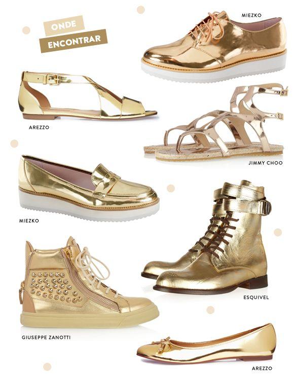 d3e75f7b8 Sapatos Dourados em foco | WISHLIST | Sapatos dourados, Sapatos e ...