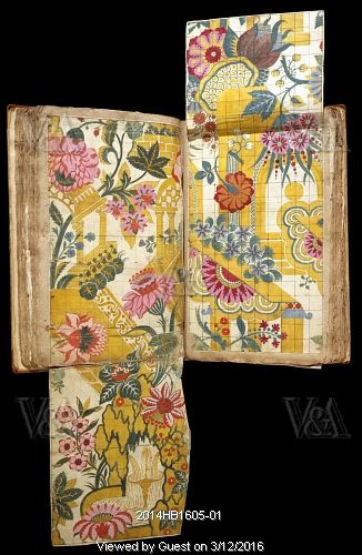 Pages from an album of designs for woven silk, by James Leman. Spitalfields, London, England, 1710