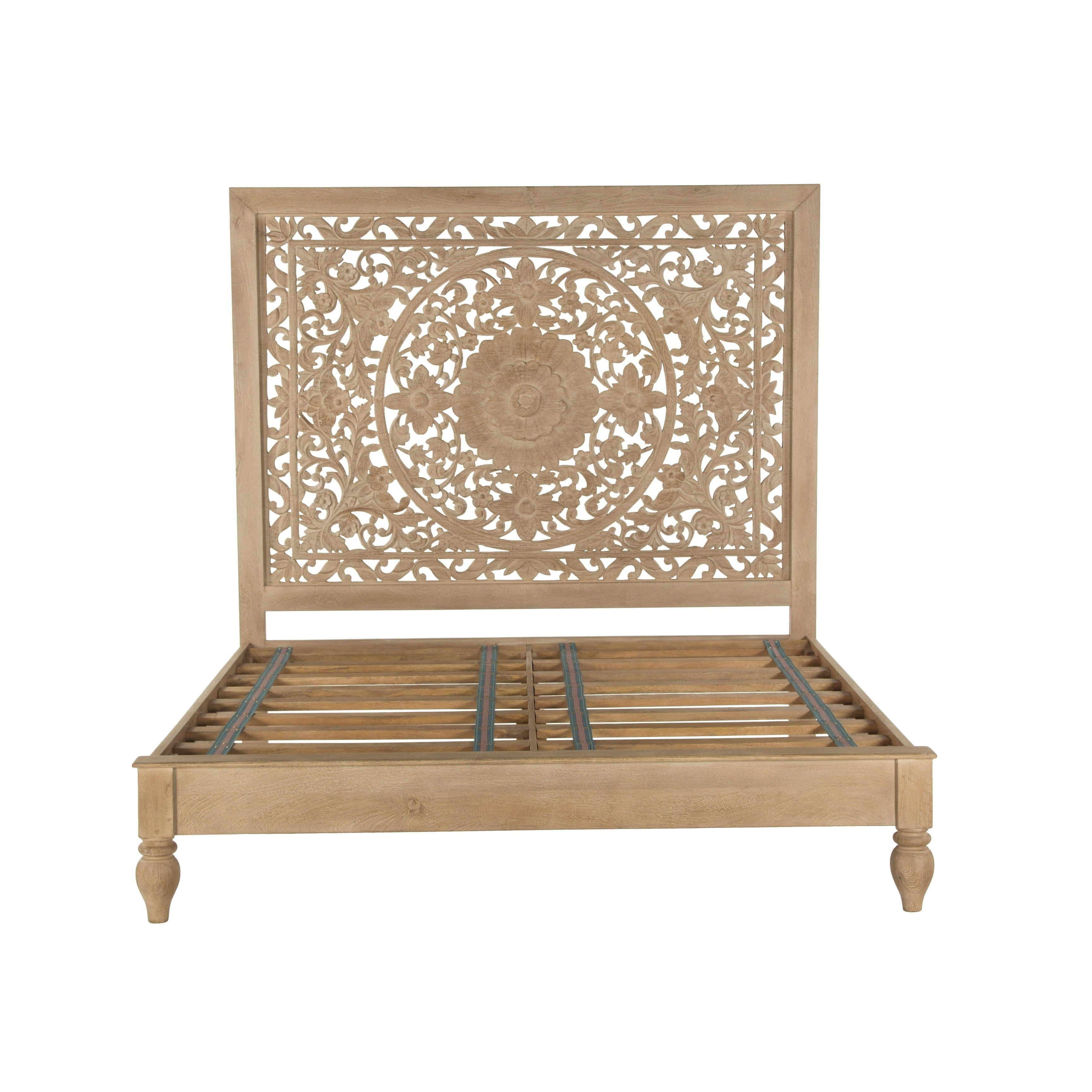 Haveli Whitewash Mango Wood Queen Bed Assembly Required Platform Bed Brown Carved Beds Wood Beds King Bed Frame