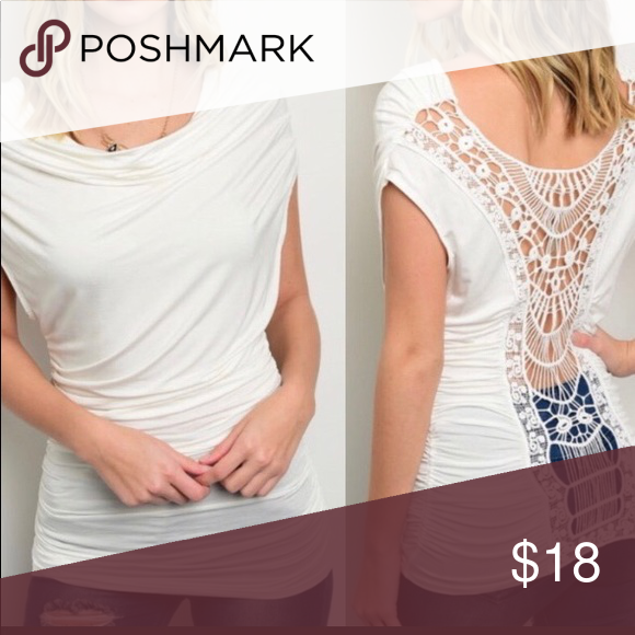 e9225e83ce06 Ivory Cowl Neck Crochet Short-Sleeve Top New with tag. Ivory knit top.  Short cap sleeves. Draped front detail. Ruched sides. Open crochet detail  back. Made ...