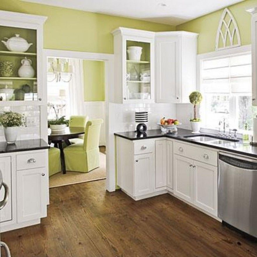 Modern White Kitchen Color Schemes Remodeling Decoration With White Contemporary Cabinets Furnitur Green Kitchen Inspiration Kitchen Inspirations Home Kitchens