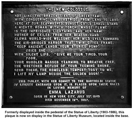 "Statue Of Liberty Quote Statue Of Liberty Plaque With Emma Lazarus' Poem ""the Colossus"