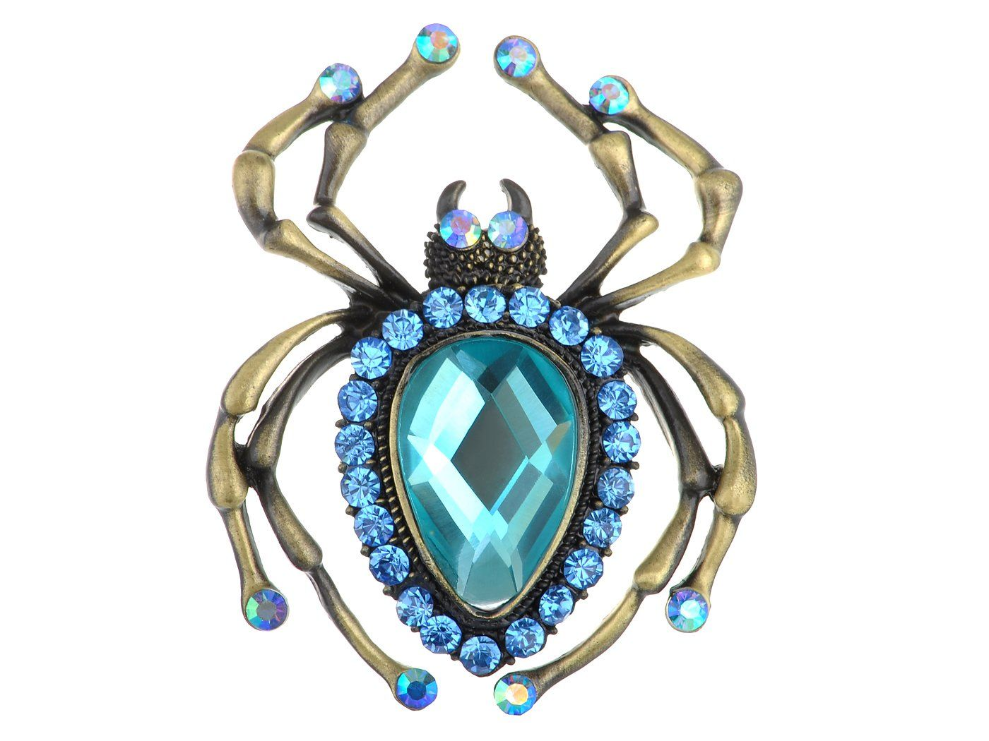 Photo of Antique Big Teardrop Sapphire Blue Spider Insect Brooch Pin – Gold&Blue