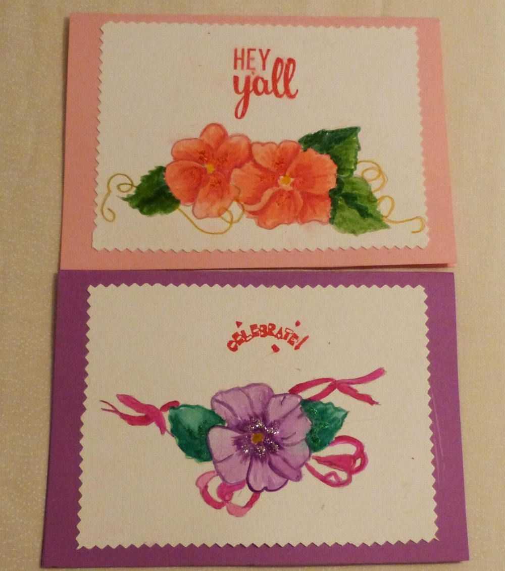 Handmade Greeting Card Set Of 2 Hand Painted 5x7 All Occasion