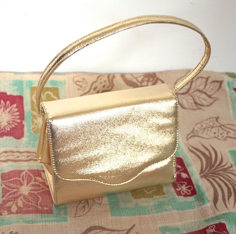Vintage 1950's Purse // 50s 60s Metallic Gold Leather Handbag // Viva Las Vegas // DIVINE by TrueValueVintage on Etsy