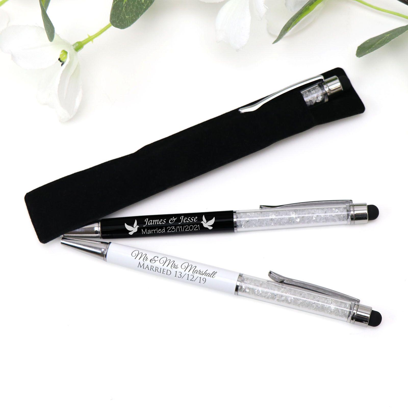 Personalised Engraved Crystal Wedding Pens Glamorous Wedding Favours Engraved Crystal Metal Pen