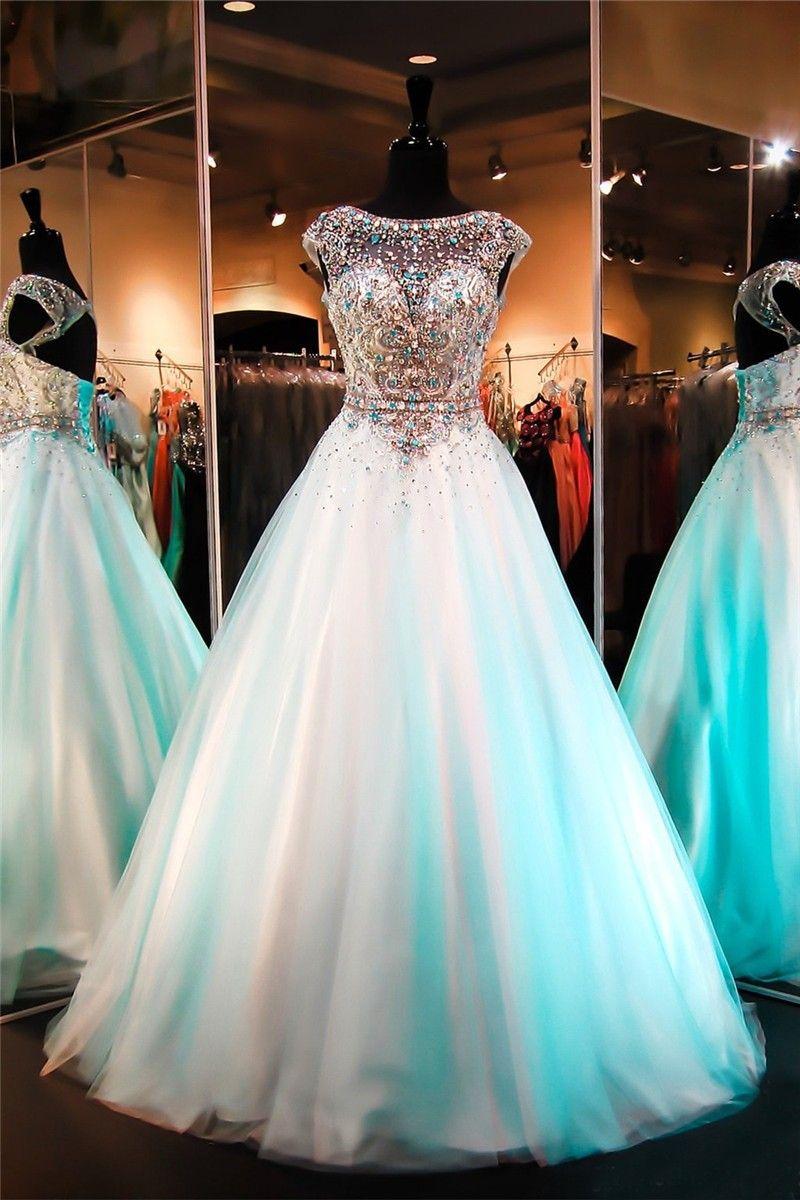Sparkly A Line Bateau Neckline Open Back Cap Sleeve Aqua Tulle Beaded Prom Dress