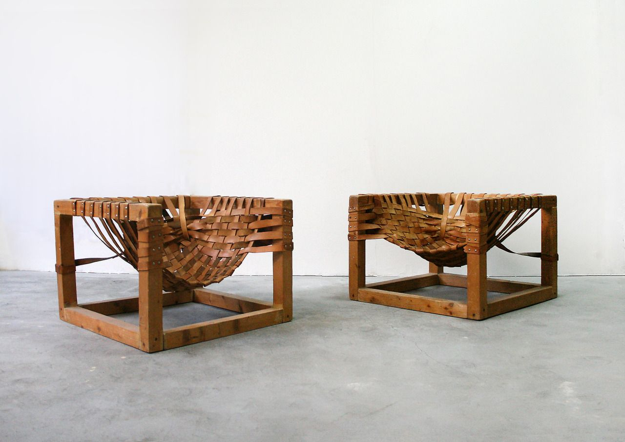 Great Pair Of Mid Century Modern Brazilian Woven Leather Safari Cube Lounge Chairs.  SOLD