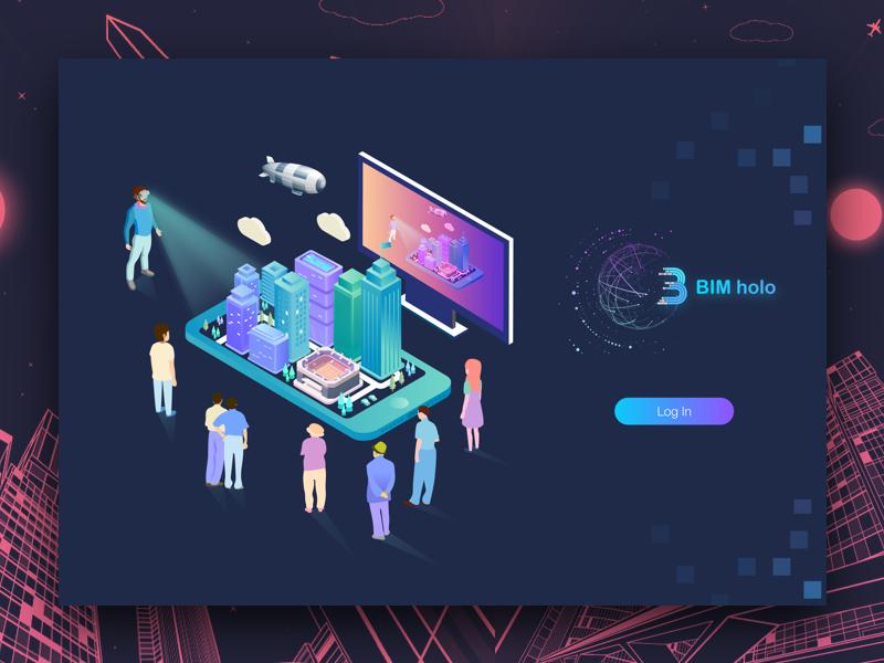 BIM holographic platform background login interface
