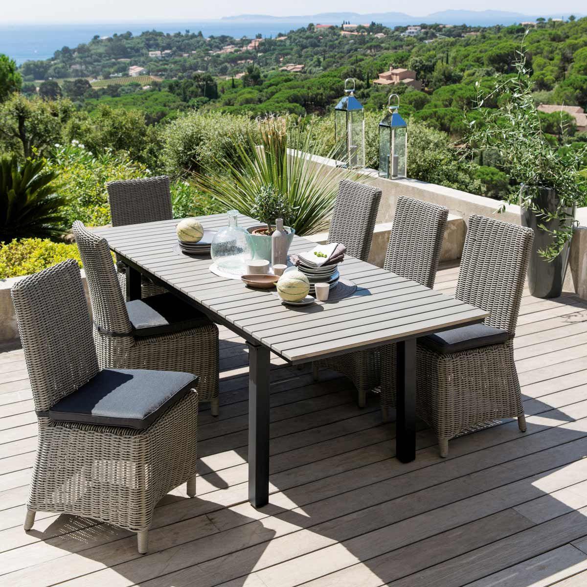 Table de jardin en aluminium gris L 213 cm | ++ déco idées ...