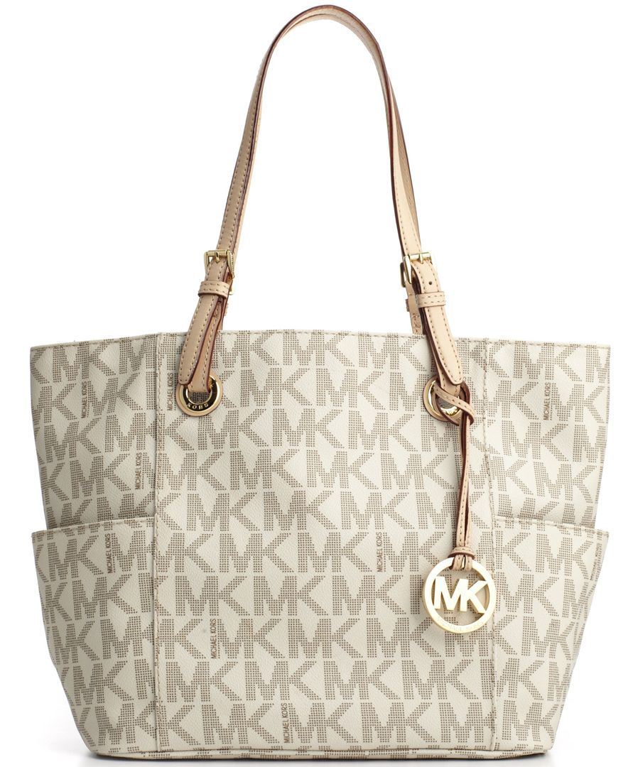 198 Michael Kors Handbag Signature Tote Macys Imported Coated Canvas Trim Leather Bag Double Handles With 8 Drop No