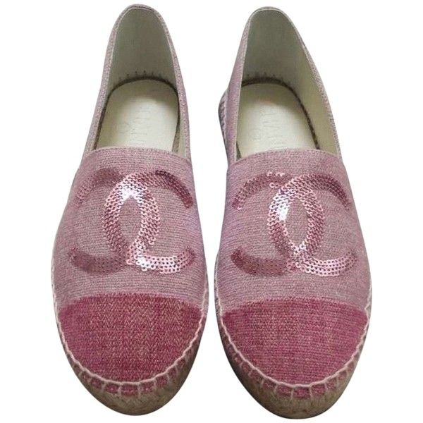 d48928daecf1 Pre-owned Chanel Pink Nib Size 36 Canvas Linen Cap Toe Cc Espadrilles...  ( 859) ❤ liked on Polyvore featuring shoes
