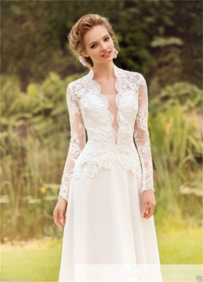 Awesome awesome long sleeve lace whiteivory wedding dress vneck