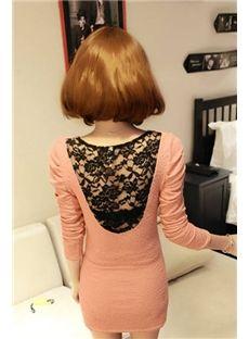Latest Night Club Long Sleeves Lace Back Sheath Dress