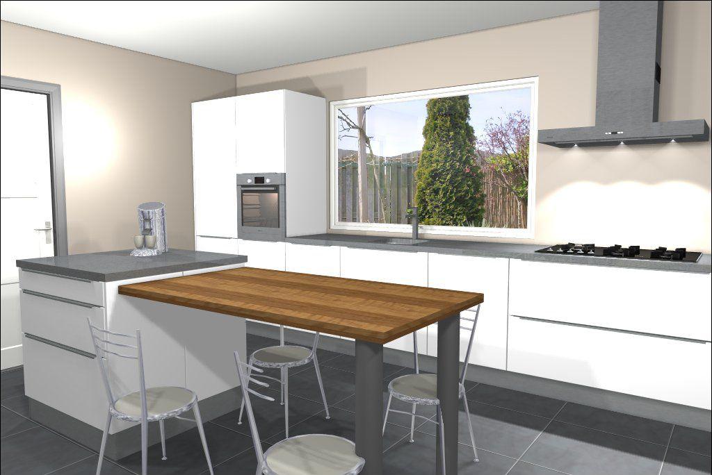 Eiland keuken bar uitbouw keuken pinterest met - Keuken witte tafel ...