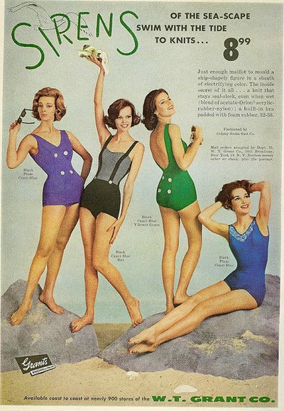 b7fe624600228 Sirens Swimsuits from 1961: vintage bathing suit ad. 1960's fashion #Sixties