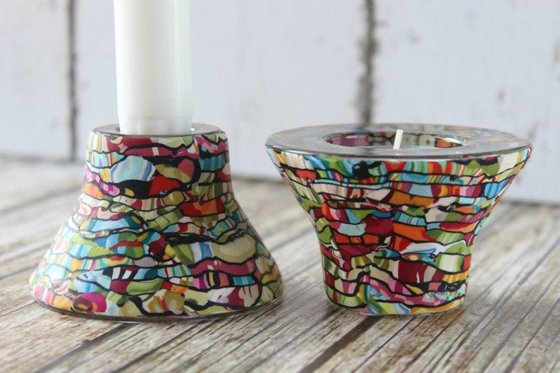 Shabbat Candlesticks Candle Holder-Jewish Candles-Colorful | Etsy