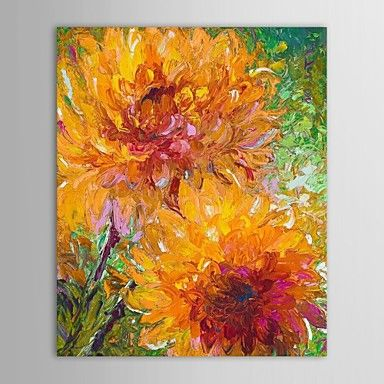 Hand Painted Oil Painting Floral Two Orange Knife Painted Chrysanthemum with Stretched Frame – USD $ 62.99