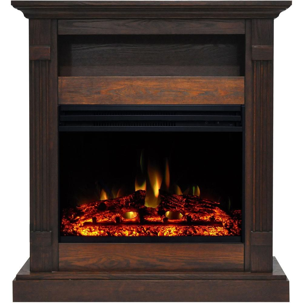 Cambridge Sienna 34 In Electric Fireplace Heater In Walnut With