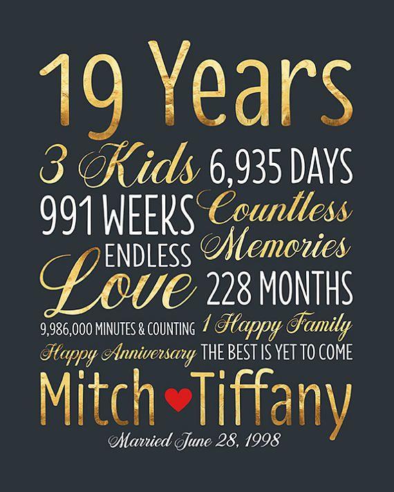 Personalized Wedding Anniversary Gift 19th Anniversary 19 Years