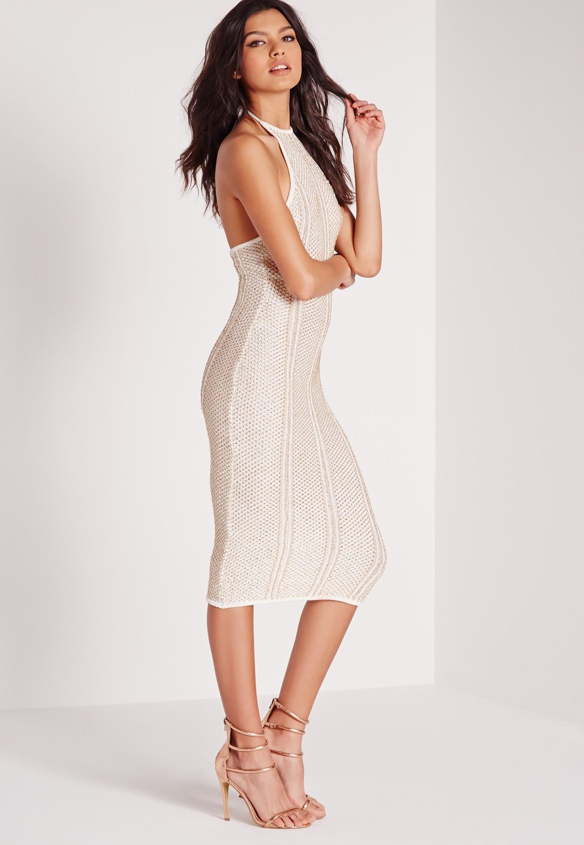 ce8e371bea48 Missguided - Metallised Halter Midi Dress White