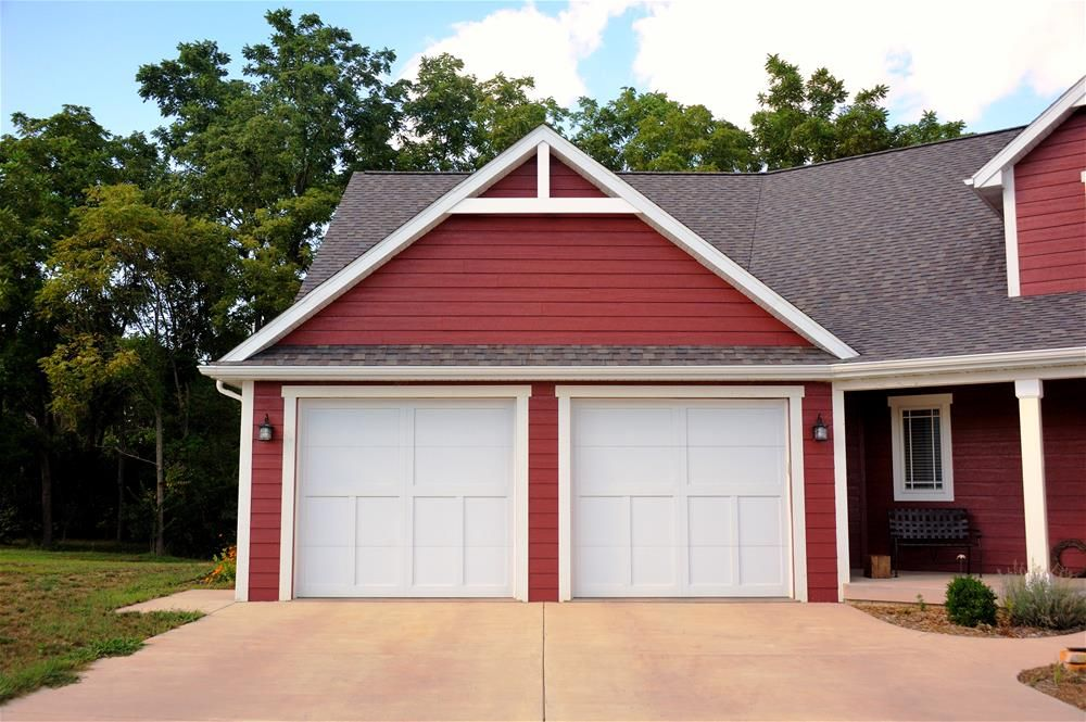 @C.H.I. Overhead Doors Model 5310 Steel Carriage House Style Garage Doors  With Overlay In White