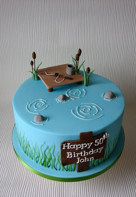Incredible Johns Fishing Themed Birthday Cake By Rubyteacakes Via Flickr Personalised Birthday Cards Epsylily Jamesorg