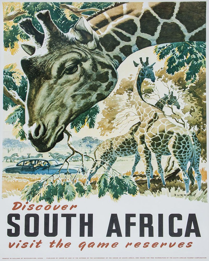 Details about south africa travel vintage art print
