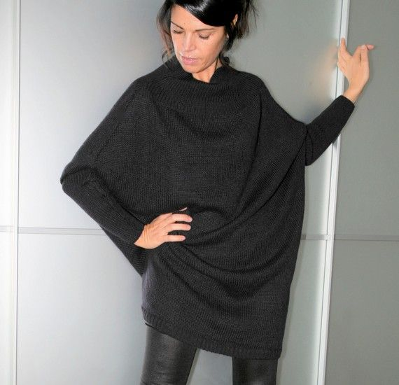 Black Oversized Womens Knit Long Sweater Dress Wide Dolman Sleeves ...