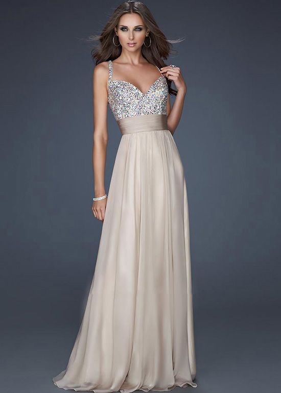 Nude Sparkly Jeweled Encrusted Straps Long Prom Dress 2015 | Prom ...