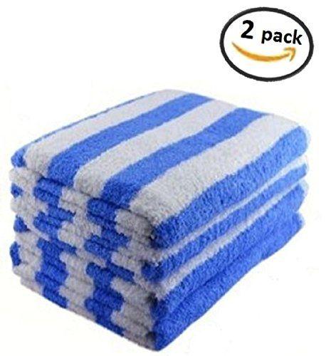 2 Luxury Cabana Striped Beach Towels 34 X 70 Blue Luxu